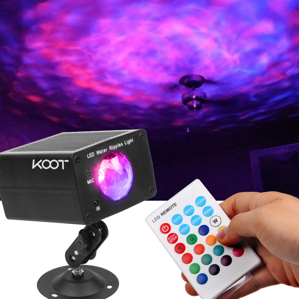 KOOT Disco Lights 16 Color LED Water Ripple Light Stage Light DJ Light with Remote Control- Best for KTV Club Family party Christmas Halloween Gym Wedding.