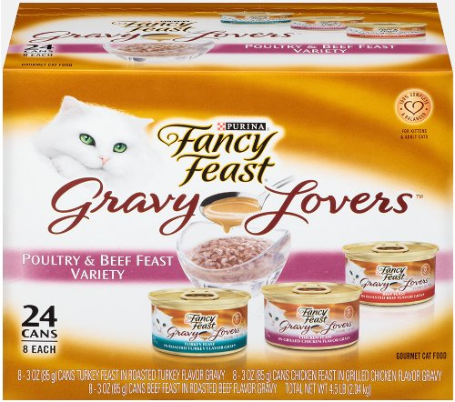 Fancy Feast Wet Cat Food, Gravy Lovers, Poultry & Beef Variety Pack, 3-Ounce Can, Pack of 24