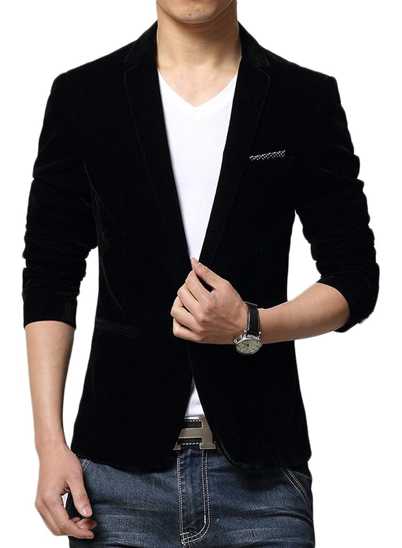 Liveinu Men's Slim Fit 1 Button Velvet Blazer Tuxedo Dinner Jacket ...