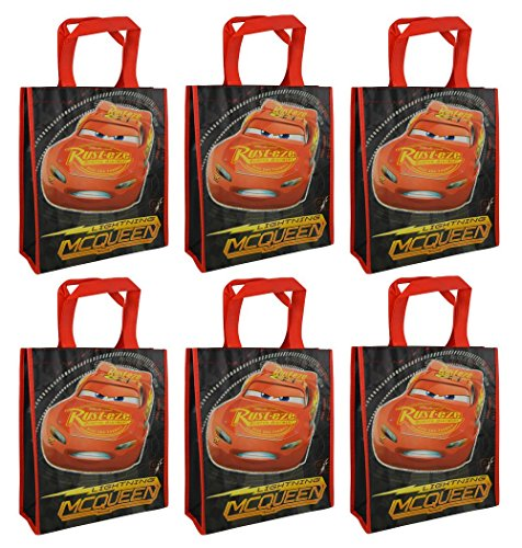 6-Pack Disney-Pixar Cars Lightning McQueen Reusable 12-inch Tote Bags/Party Favor Goodie Bags, Red, Black ()