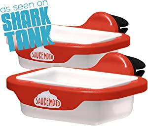 Saucemoto Dip Clip | An in-car sauce holder for ketchup and dipping sauces. As seen on Shark Tank (2 Pack, Red)