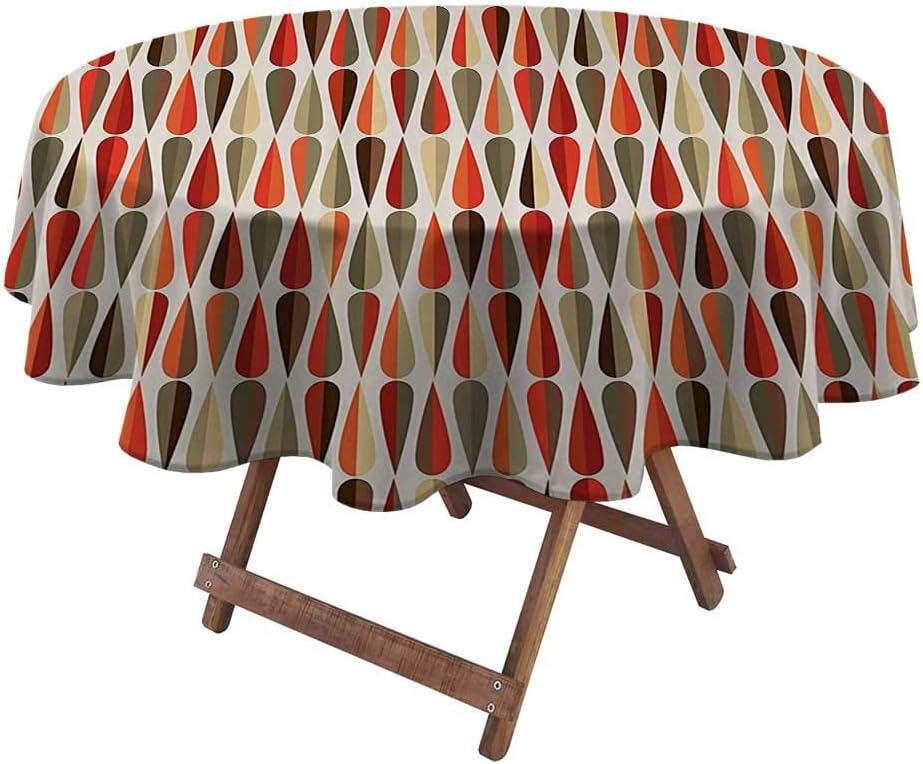 "DayDayFun Round Tablecloth Retro Decor Christmas Round Tablecloth Home Decor 60s 70s Style Geometric Round Shaped Design with Warm Colors Print 50"" Diameter Multicolor"