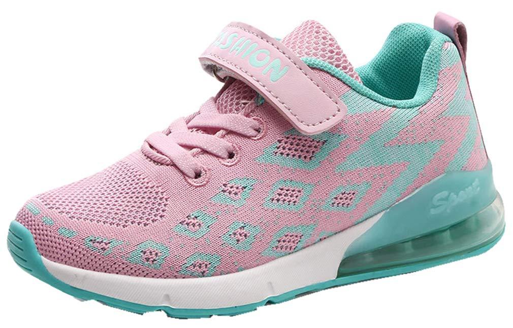 VECJUNIA Boy's Girl's Lightweight Non-Slip Athletic Sneakers Outdoor Shoes (Pink, 1 M US Little Kid)