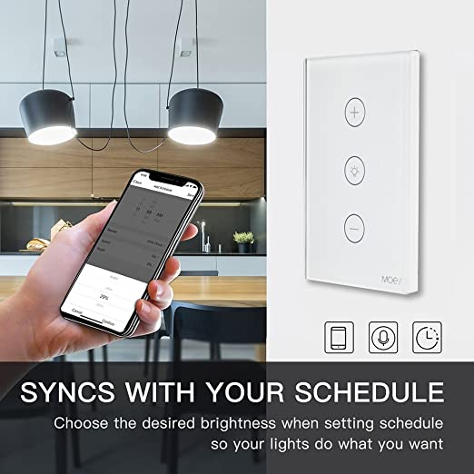 MOES WiFi Smart Dimmer Light Switch Glass Touch Panel Wireless Remote Control Anywhere Compatible with Alexa and Google Assistant Timing Function No Hub ...
