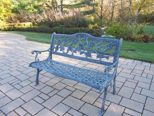 - Oakland Living English Rose Cast Aluminum Bench, Verdi Grey
