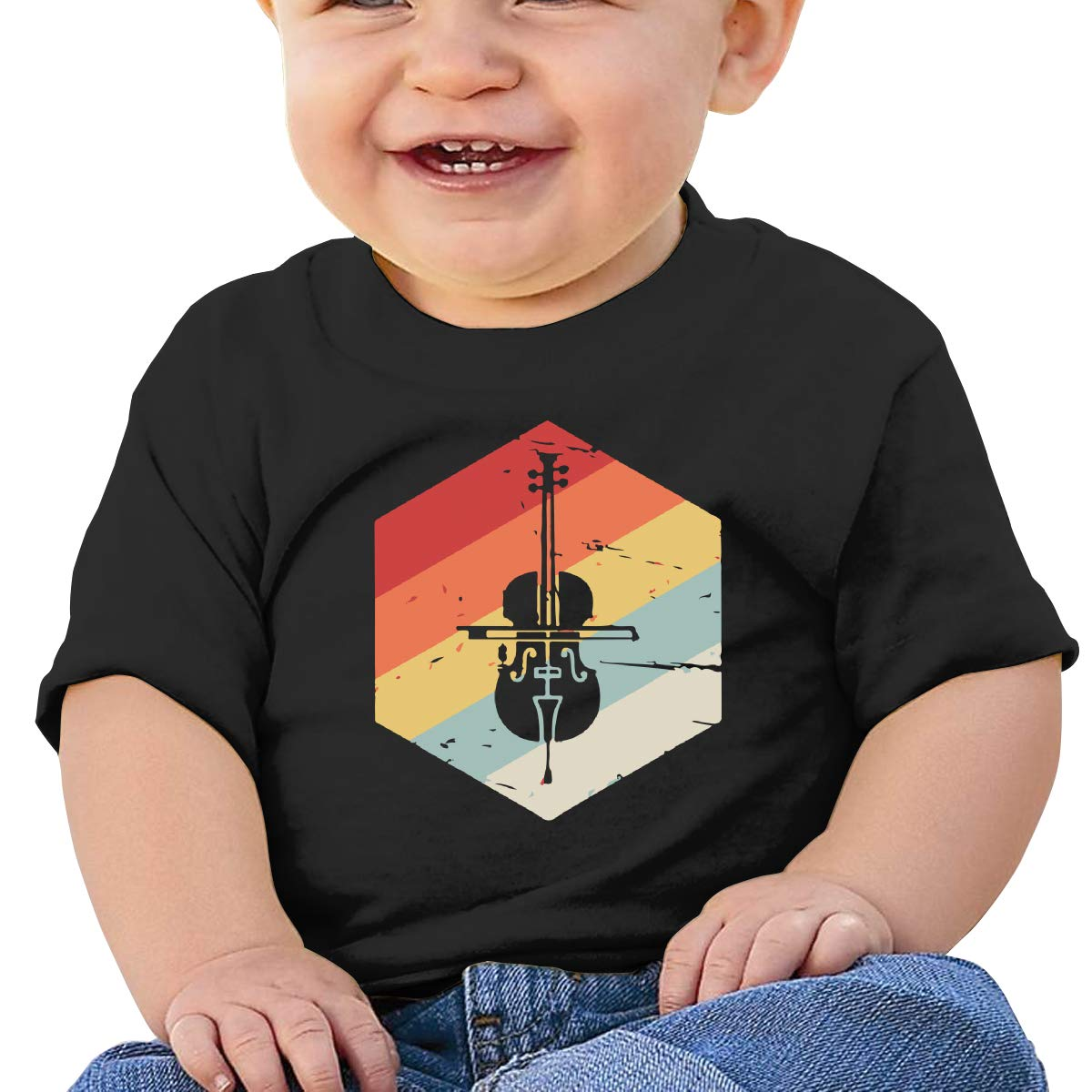 Retro 70s Cello Icon Baby Girls Newborn Short Sleeve T-Shirt 6-24 Month Cotton Tops