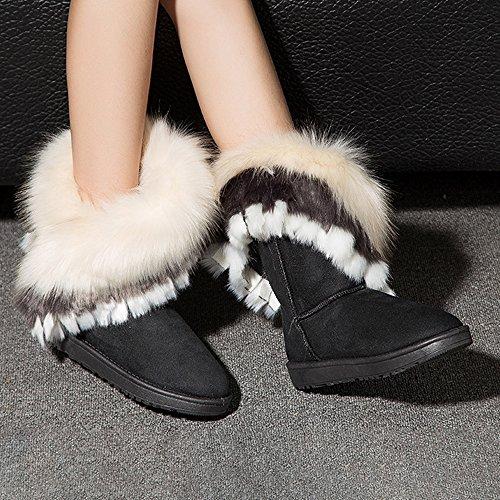 Mode Noir Bottines Chaussures Flat Neige Cheville Femme Chaudes Bozevon Hiver Long Boots Fourrure 5qPwfR7n
