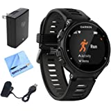 Garmin Forerunner 735XT GPS Running Watch - Black/Gray (010-01614-00) w/ Accessories Bundle Includes, Extreme Speed Charging Clip, Universal USB Travel Wall Charger & 1 Piece Micro Fiber Cloth