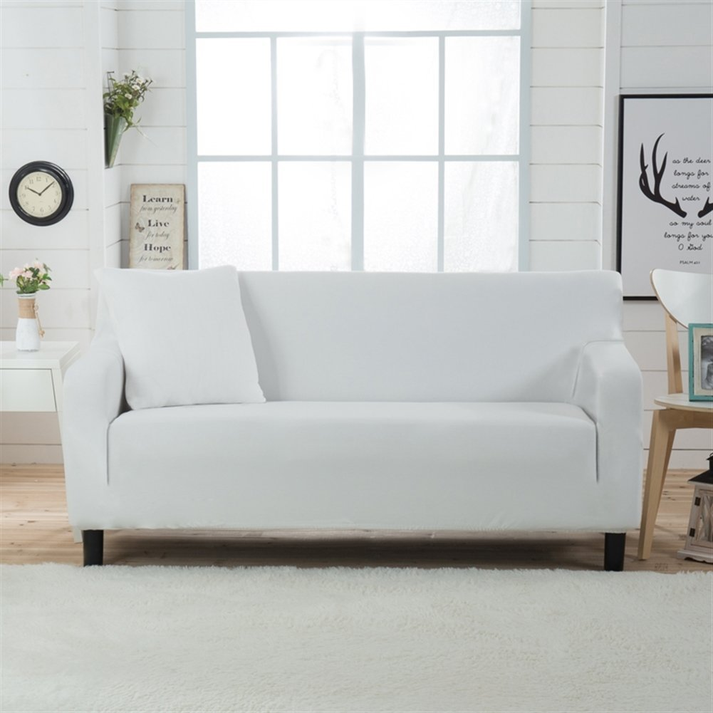 Liveinu Jacquard Spandex Stretch Elastic Sofa Slipcover For Armchair Loveseat Sofa Couch White Loveseat(57''-70'')