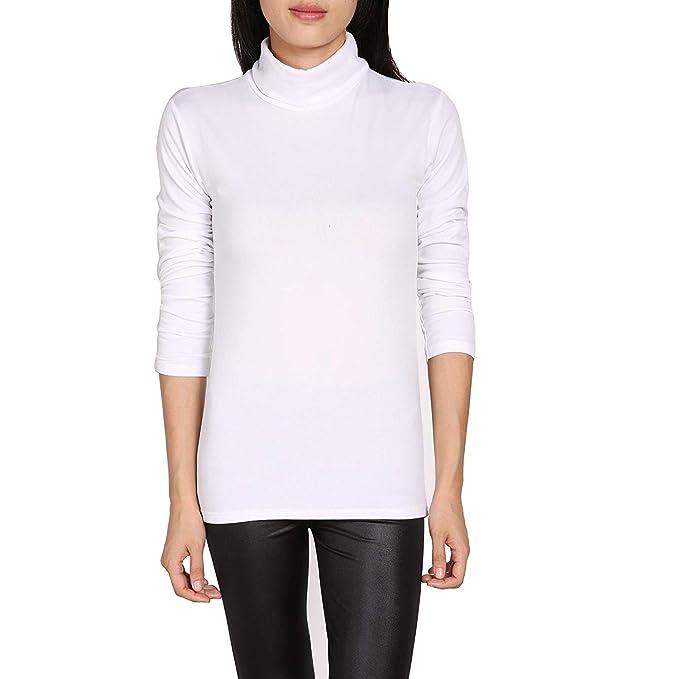 Blusa Mujer Otoño Invierno Elegantes Manga Largo High Collar Color Sólido Camisas Basicas Slim Fit Ropa