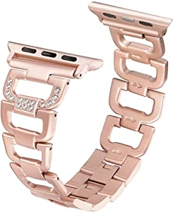 Secbolt Bling Bands Compatible Apple Watch Band 38mm 40mm iWatch Series 6 5 4 3 2 1 SE Women Dressy Jewelry D-link Stainless Steel Wristband Strap, Gold