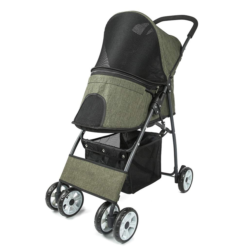 Green MZP Wheeled Dog Trolley, 600D PVC Cloth Suspension Pushchair Rear Brake 4 Wheels Large 360 Degree redatable Multi-functional Carry Cage Load Within 15kg (color   Green)