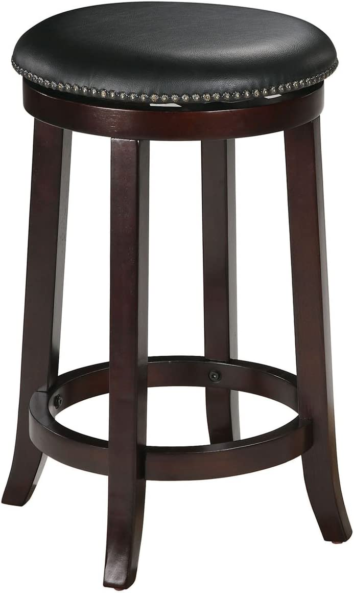 "ACME Chelsea Counter Height Stool w/Swivel (Set-2) - 0 - PU & Espresso - 24"" Seat Height"