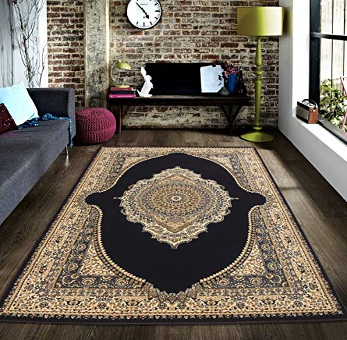 Msrugs Traditional Oriental Medallion Navy Beige Area Rug Persian Style Rug ()