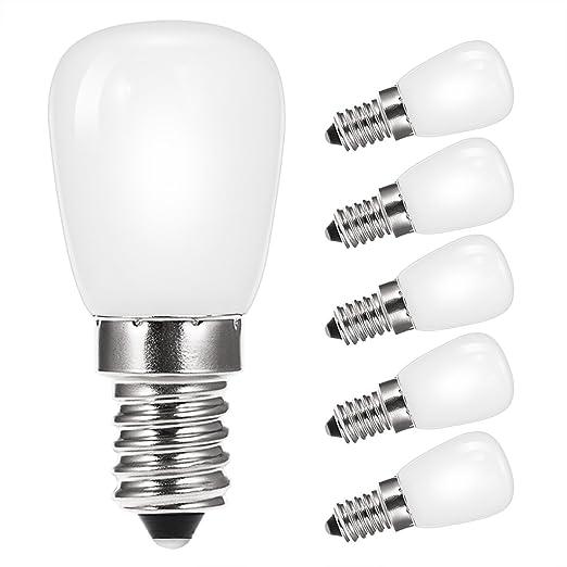 5 x techgomade 2 W E14 LED bombilla frigorífico campana, día blanco 6000 K 200LM