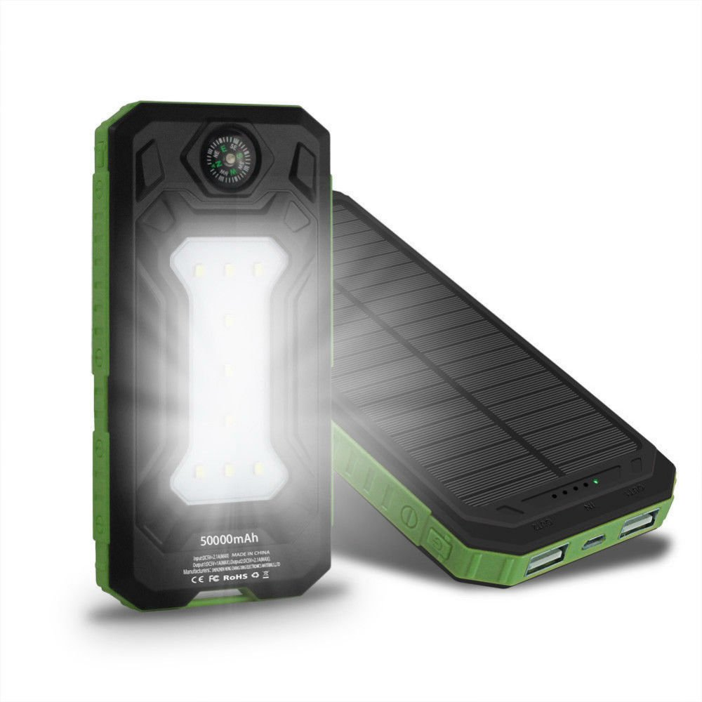 Green Waterproof 50000mAh 2USB Solar Power Bank 9LED Pack Battery Charger