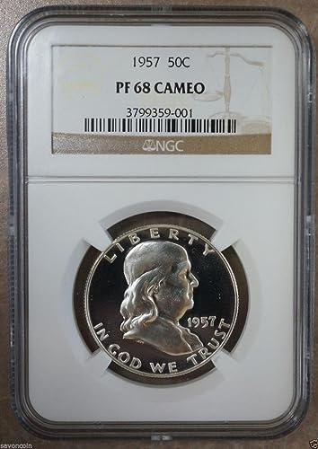 1955 Franklin Silver Half Dollar 50c ~ NGC PF68 ~ STUNNING PROOF!