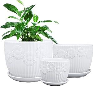 Plant Pots, Brajttt S/M/L Round Modern Ceramic Garden Flower Pots, White Succulent Cactus Planters, Set of 3
