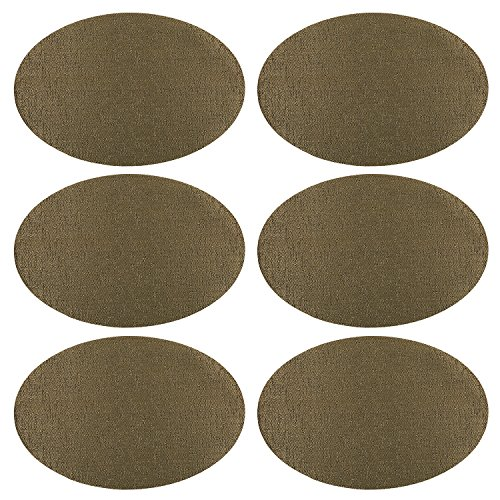 U'Artlines Placemats Set of 6,Waterproof,Soft Crossweave Woven Vinyl Placemat,New Generation,placemats for round table ( Oval, Black-gold)
