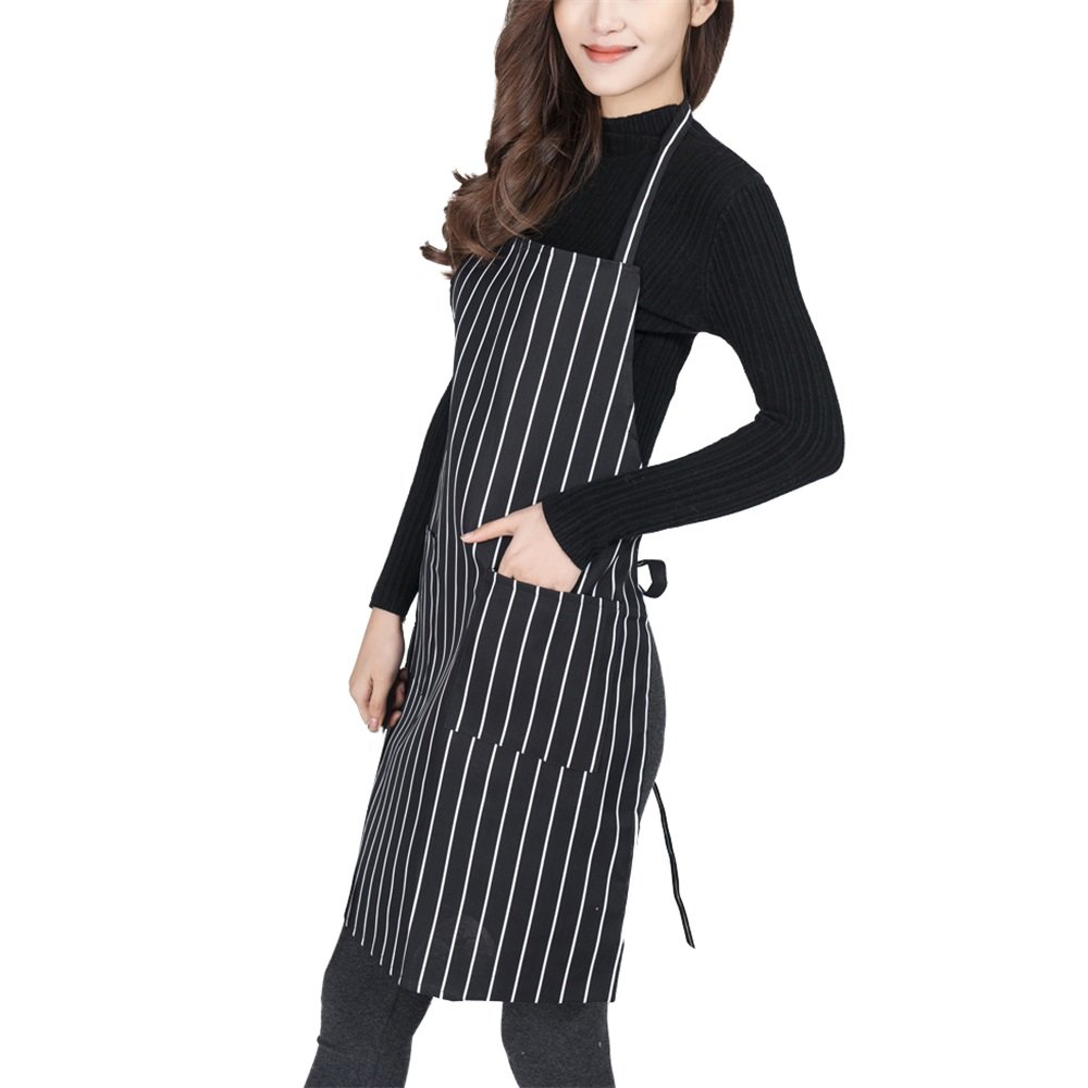Nunubee Black And White Striped Apron Double Pocket Polyester Oblique Stripes Couple Sleeveless Pottery Kitchen Painting Cleaning Props Multi 78*59CM 7000K2913BKW7859
