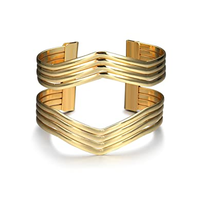f71b522f9 Amazon.com: Starshiny Gold Tone Geometric Bracelet Punk Charm Metal Cuff  Bangles for Women: Toys & Games