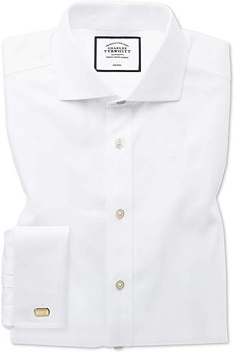 Camisa sin Plancha Blanca de Tejido de Espiga Slim fit con Cuello Italiano: Amazon.es: Ropa y accesorios