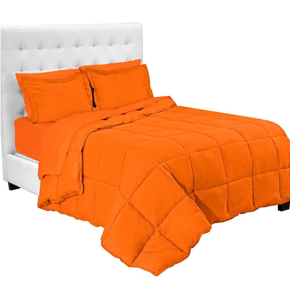 Bare Home 5-Piece Bed-In-A-Bag - Twin XL Extra Long (Comforter Set: Orange, Sheet Set: Orange)