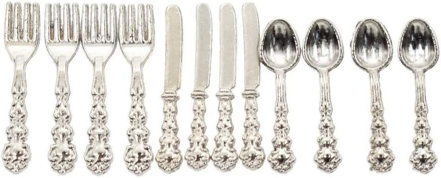 X12 Dollhouse Silverware Fork Spoon 1//12 Scale Miniature Doll Tableware Decor \
