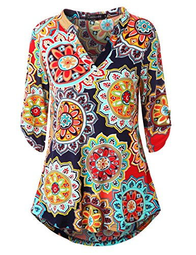 Zattcas Womens Floral Printed Tunic Shirts 3/4 Roll Sleeve Notch Neck Tunic Top,Navy Red,X-Large