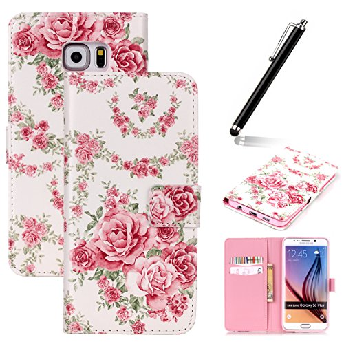 Funda para Huawei P8 Lite, Flip funda de cuero PU para Huawei P8 Lite, Huawei P8 Lite Leather Wallet Case Cover Skin Shell Carcasa Funda, Ukayfe Cubierta de la caja Funda protectora de cuero caso del  Roses Roses