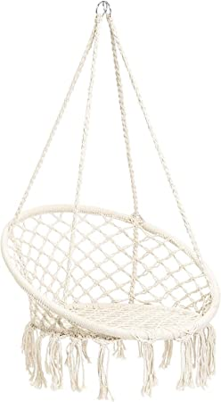 Amazon Com Cctro Hammock Chair Macrame Swing Boho Style Rattan Chair Hanging Macrame Hammock Swing Chairs For Indoor Outdoor Home Patio Porch Yard Garden Deck 265 Pound Capacity C White Garden