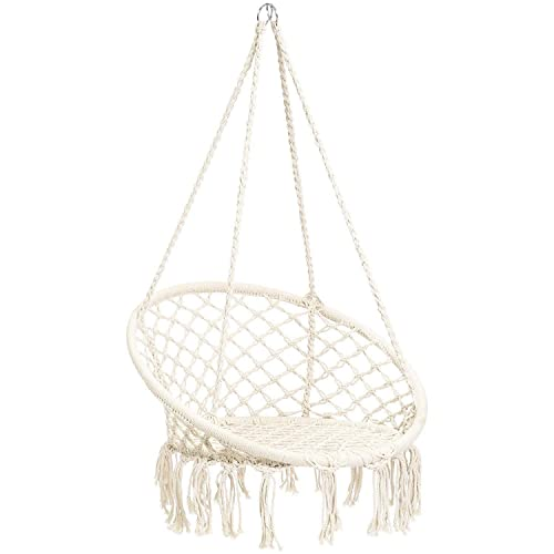 CCTRO Hammock Chair Macrame Swing,Boho Style Rattan Chair Hanging Macrame Hammock Swing Chairs for Indoor Outdoor Home Patio Porch Yard Garden Deck,265 Pound Capacity C White