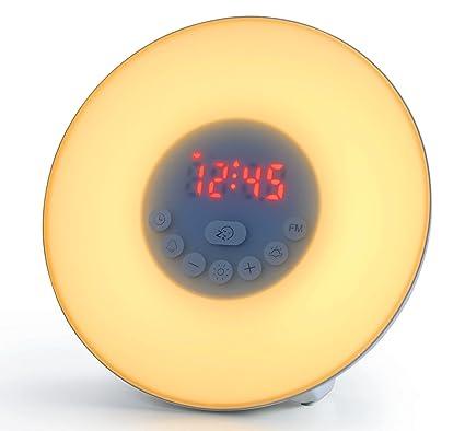Luz de alarma de la luz de despertador de Bioxo, lámpara de la atmósfera de 6 colores con la simulación de la salida del sol, 6 sonidos naturales ...
