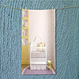 AmaPark Absorbent Towel Colorful Interior of Nursery Frontal View d Render Pictures in Frames Soft Cotton Durable w13.8 x H27.5 INCH