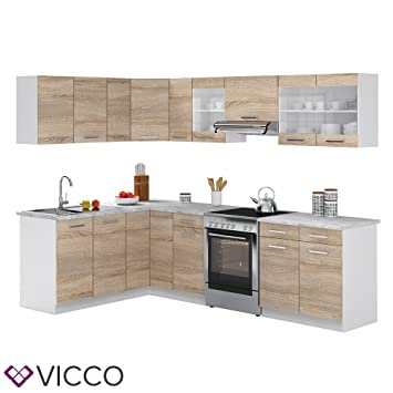 Vicco küchenzeile l form 270 cm küchenblock winkel eck einbau sonoma eiche frei kombinierbare