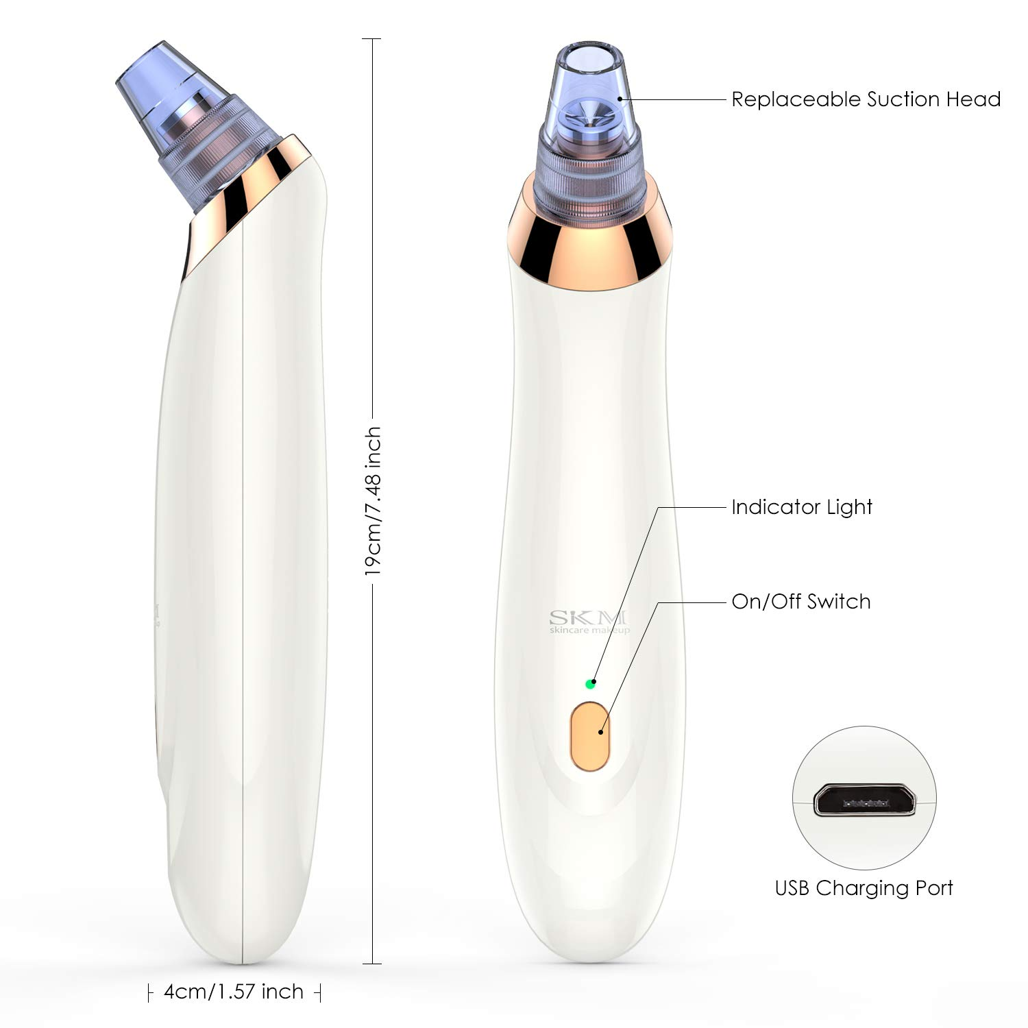 Blackhead Remover Vacuum, Electric Facial Pore Vacuum Cleaner, Blackhead Extractor, with 5 Suction Heads for Women Men Face Nose by SKM