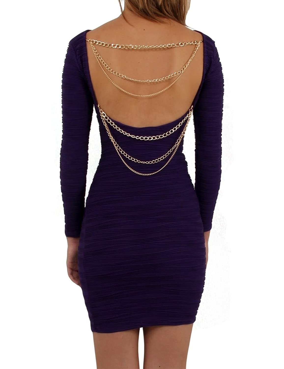 Ladies Purple Dress Backless Bodycon Clubbing Mini Short stretchy Chain party Mauve Violet