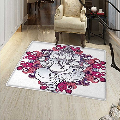 Bohemian Area Rug Carpet Elephant Goddess over Floral Colorful Mandala Pattern Eastern Faith Symbol Print Living Dinning Room and Bedroom Rugs 30''x40'' Pink Grey by Anhounine
