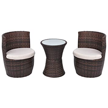 vidaXL Ensemble de Mobilier de Jardin 5 pcs Poly Rotin Marron Salon ...