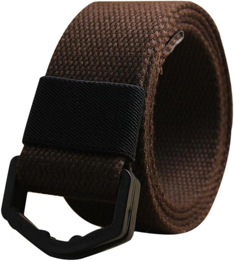 Milopon Cinturón de Tela Cinturón de Entrelazado Cinturón para Mujer Hombre Libre Ajustable Jeans Cinturón V6D310Z con Hebilla metálica 110cm Beige Beige