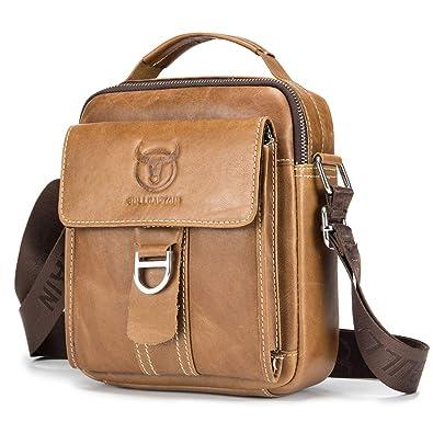 d3fe8366b6e70 BAGZY Vintage Herren Sling Bag echtes Leder Männer Schultertasche  Umhängetasche Handtasche Brusttasche Rucksack Cross Body Messenger