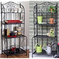 K&A Company Indoor / Outdoor Folding Rack Bakers Metal Tier Outdoor Indoor Black 4- Shelves Plant exceptional storage