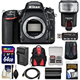 Nikon D750 Digital SLR Camera Body with 64GB Card + Battery & Charger + Backpack + Flash + Kit