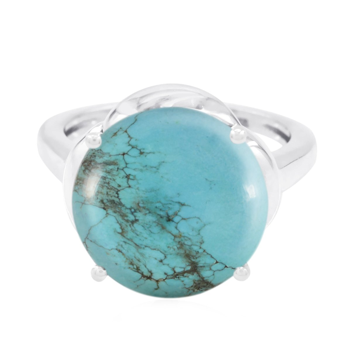 Lucky Gemstone Round cabochon Turquoises Rings - Fashion Silber Blue Turquoises Lucky Gemstone Ring - Supply Jewelry Gift for Cyber Monday Bohemian -US 9.5