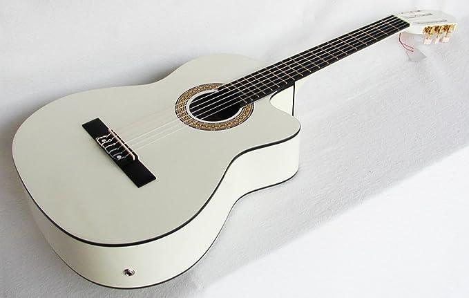 Cher rystone 4260180887068 4/4 4 banda Guitarra clásica con pastilla EQ Color Blanco: Amazon.es: Instrumentos musicales