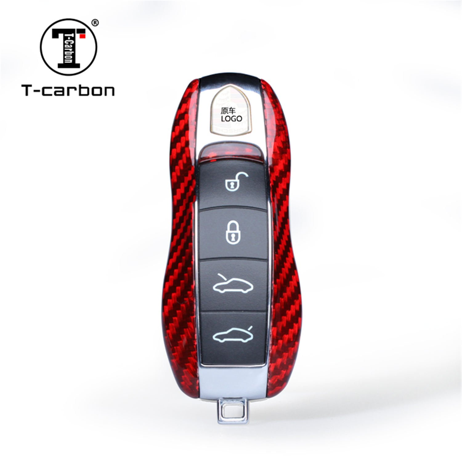 Carbon Fiber Key Fob Cover For Porsche Key Fob Remote Key, Fit Porsche 718 911 918 Panamera Macan Cayenne Boxster Cayman Car Key, Light Weight Glossy Finish Key Fob Replacement Protection Case - Red