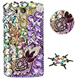 STENES LG Tribute Dynasty Case - STYLISH - 100+ Bling - 3D Handmade Flowers Hat Butterfly Design Protective Case For LG Tribute Dynasty - Purple