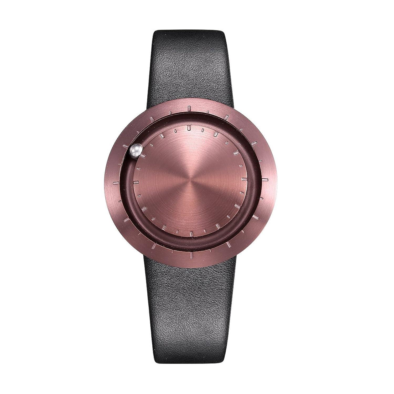 LAVARO unisex armbanduhr damen herrenuhr kaffee ziffernblatt edelstahl damenarmbanduhr wasserdicht leder schwarz