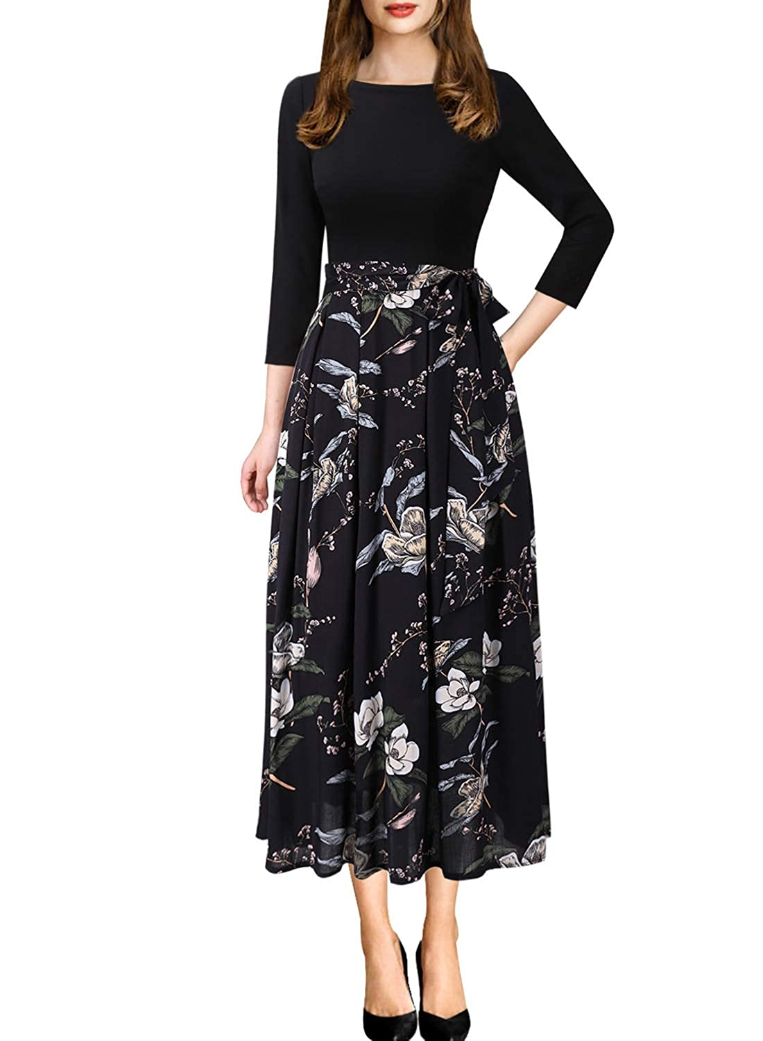 Black+multi Floral Print 3 VfEmage Womens Vintage Summer Polka Dot Wear To Work Casual Aline Dress