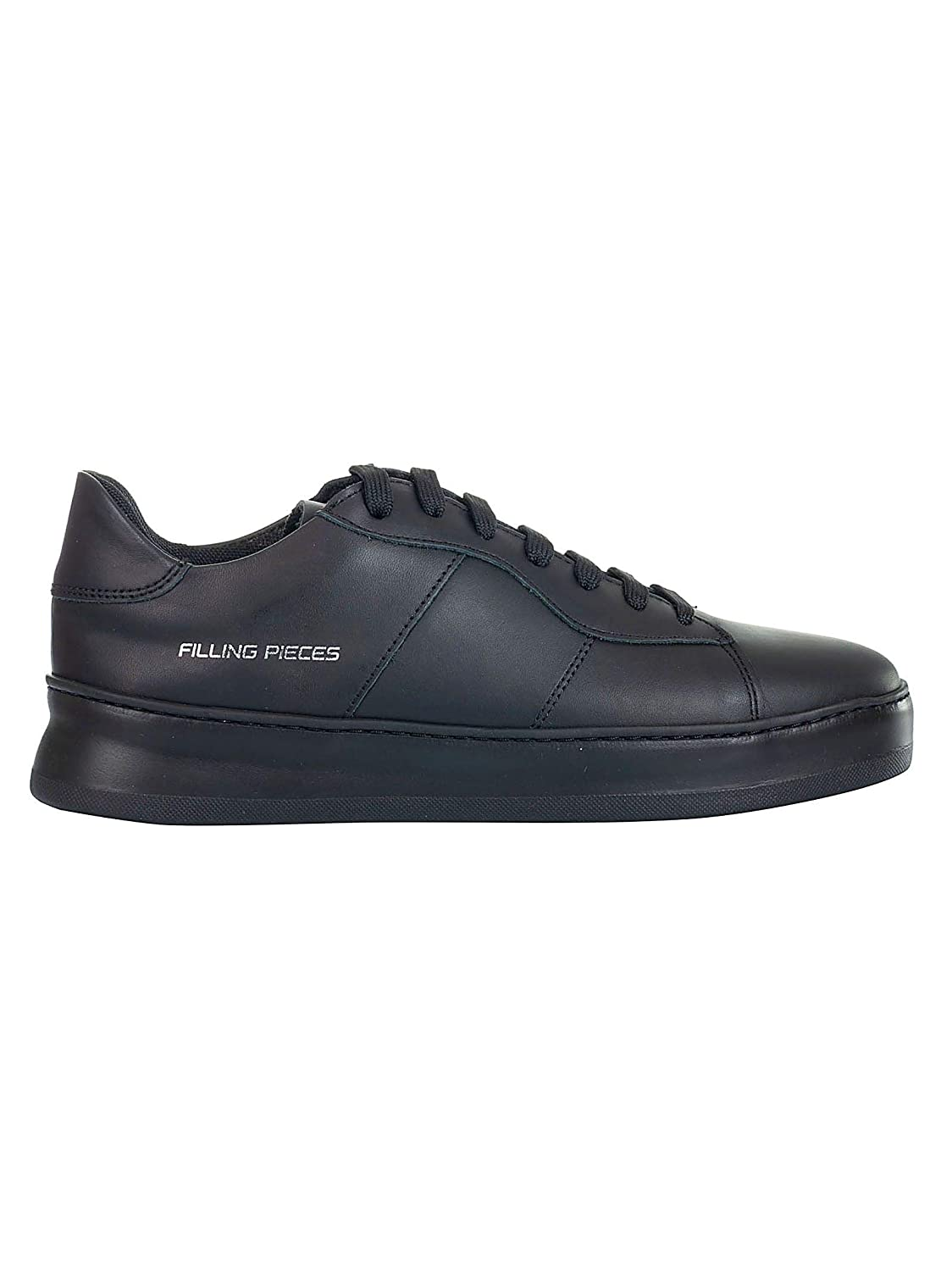 - FILLING PIECES Men's 3822727ALLBLACK Black Leather Sneakers